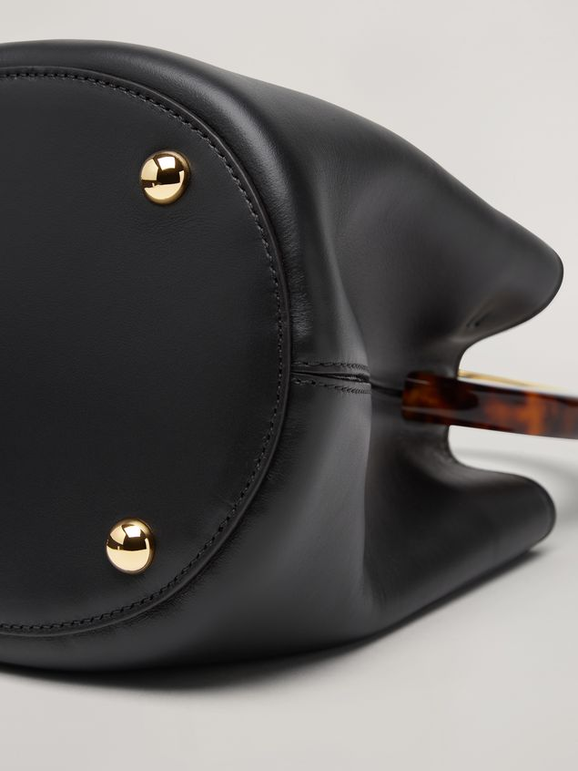 Marni PANNIER bag in black leather with design handle Woman - 5