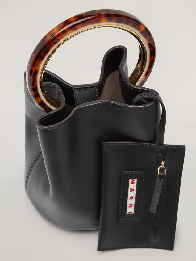 Marni PANNIER bag in black calfskin with design handle Woman - 4