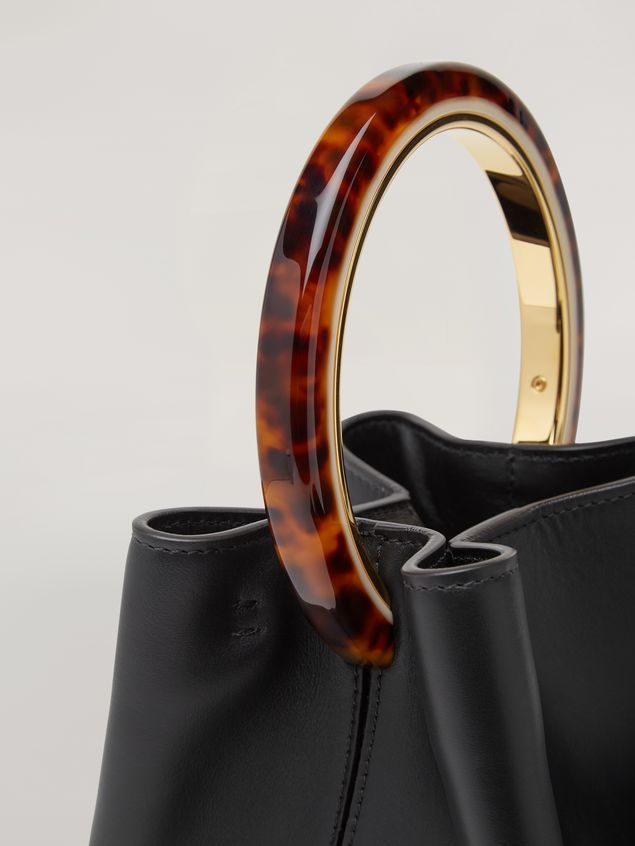 Marni PANNIER bag in black leather with design handle Woman - 2