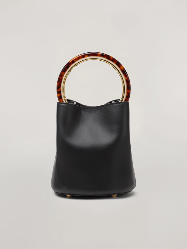 Marni PANNIER bag in black leather with design handle Woman - 1