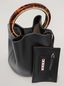 Marni PANNIER bag in black leather with design handle Woman - 4