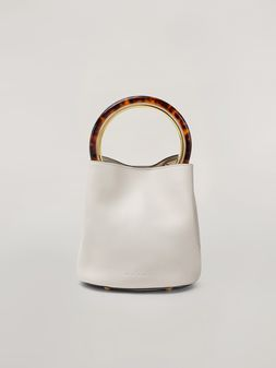 Marni PANNIER bag in white leather with design handle Woman