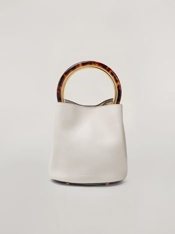 Marni PANNIER bag in white leather with design handle Woman f