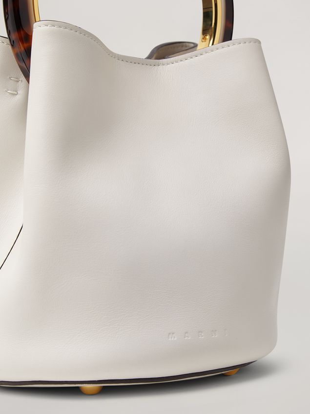 MARNI Handbag Woman PANNIER bag in white leather with design handle a