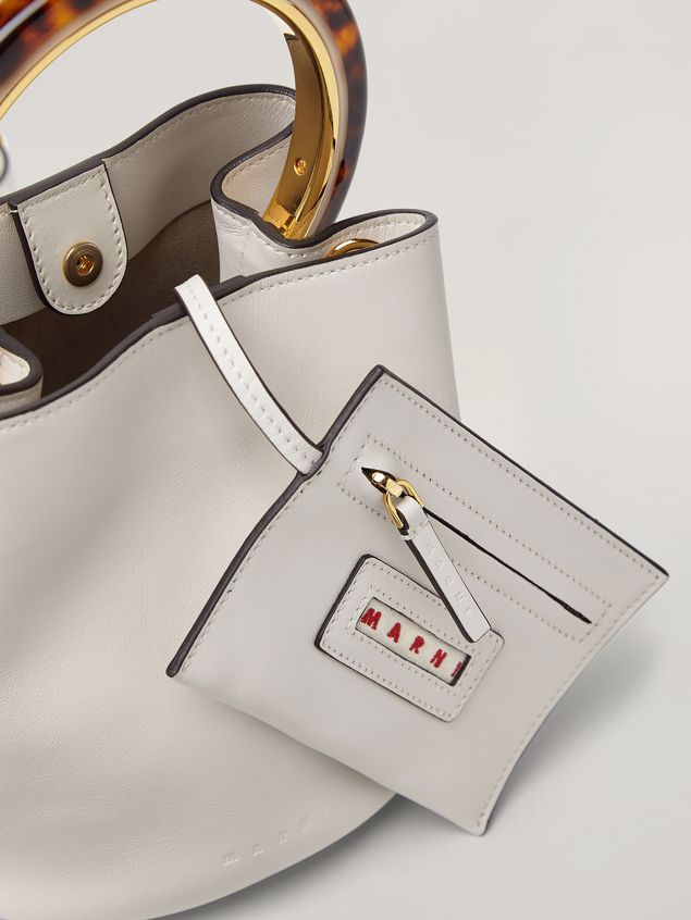 Marni PANNIER bag in white leather with design handle Woman - 4