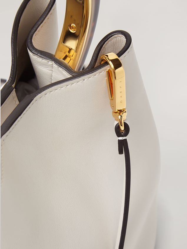 Marni PANNIER bag in white leather with design handle Woman - 2