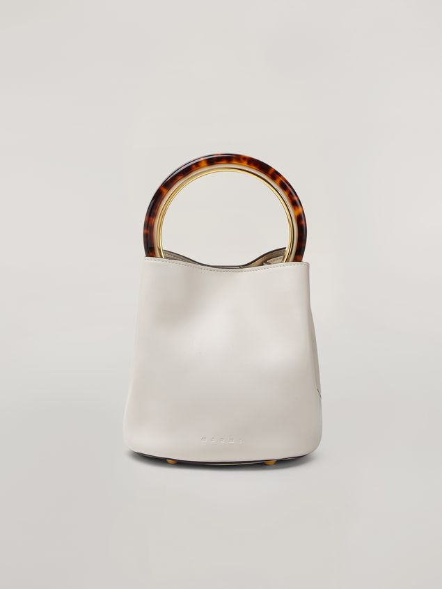 Marni PANNIER bag in white leather with design handle Woman - 1