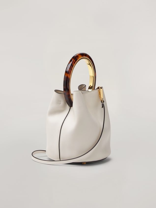 Marni PANNIER bag in white leather with design handle Woman - 3