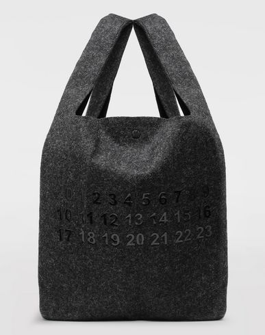 BAGS Logo felt shopping bag Steel grey