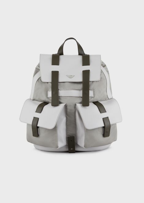 Tech fabric backpack with boarded leather details