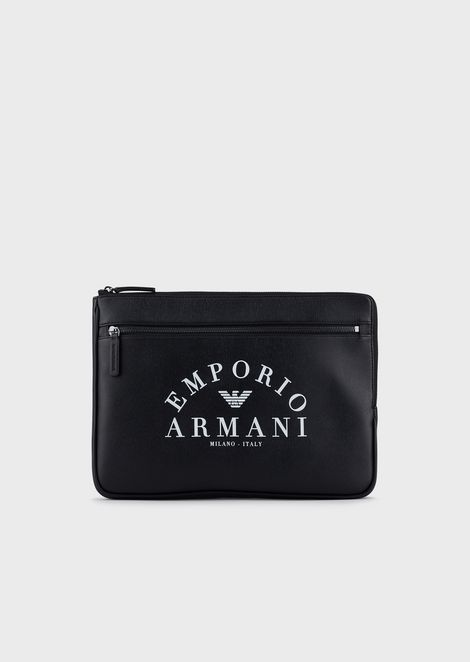 Document holder with front pocket and Emporio Armani logo