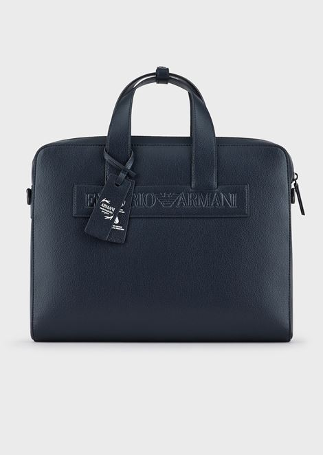 Satchel in regenerated leather with Emporio Armani patch