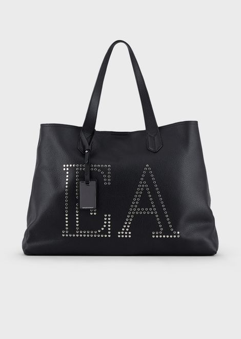 Leather shopper with studded logo