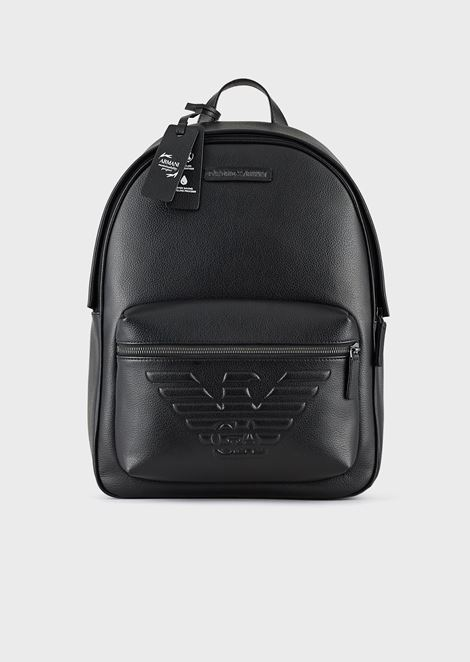 Full-grain leather backpack with maxi eagle