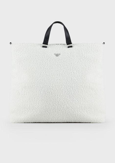 Faux bouclé sheepskin handbag