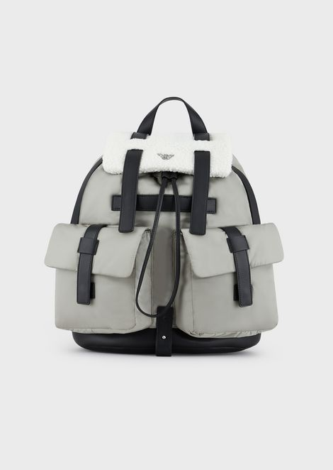 Nylon backpack with faux sheepskin details