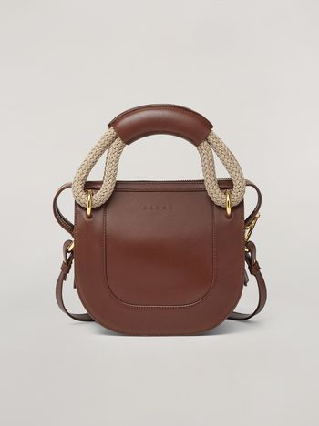 Marni BONNIE handbag in calf with leather and rope handle Woman f