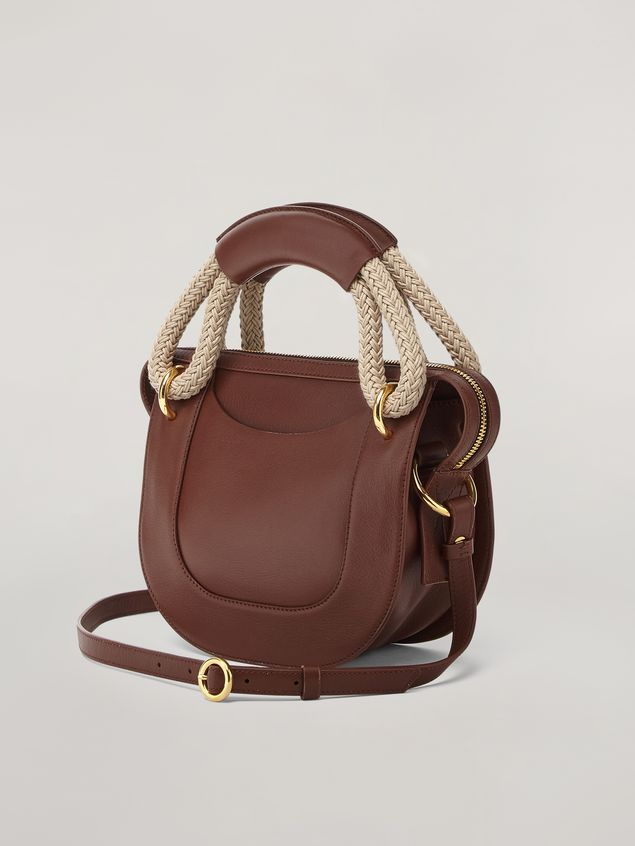 Marni BONNIE handbag in calf with leather and rope handle Woman - 3