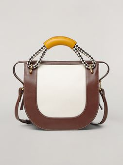 Marni BONNIE handbag in calf with leather and diamond-patterned rope handle Woman