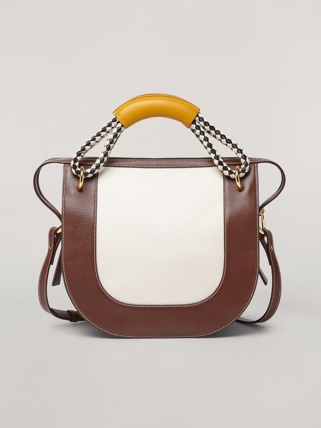 Marni BONNIE handbag in calf with leather and diamond-patterned rope handle Woman - 1
