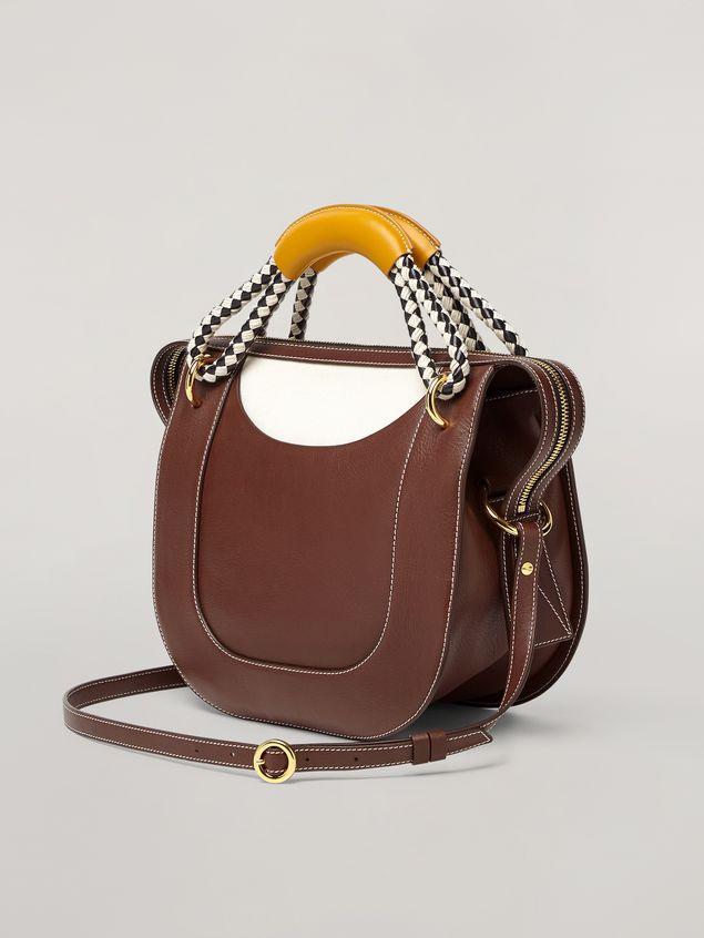Marni BONNIE handbag in calf with leather and diamond-patterned rope handle Woman - 3