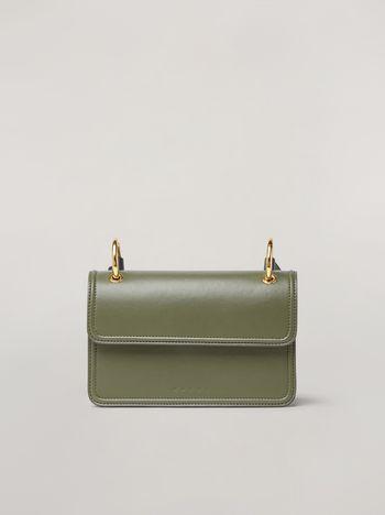 Marni NEW BEAT bandoleer bag in calf and nappa green pale blue white and brown Woman f