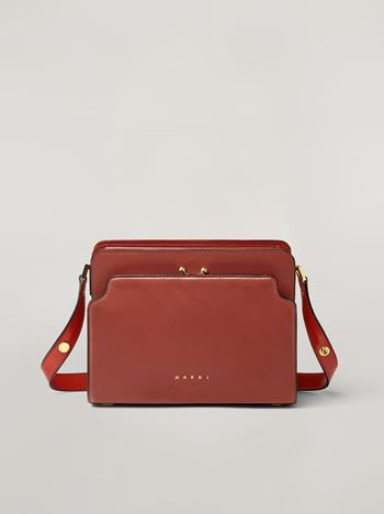 Marni TRUNK REVERSE shoulder bag in red nappa calfskin Woman f