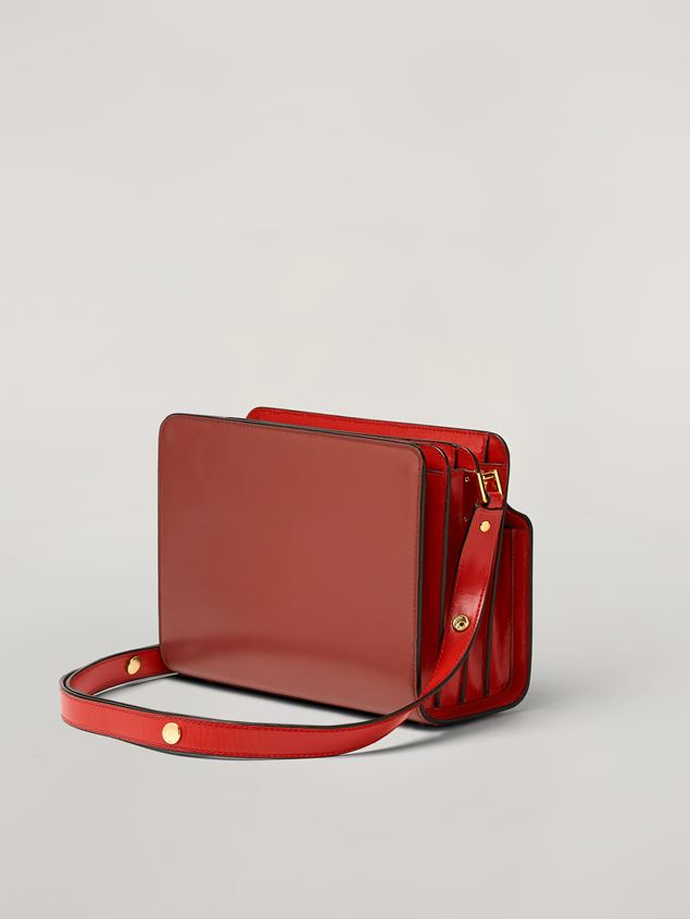 Marni TRUNK REVERSE shoulder bag in red nappa calfskin Woman