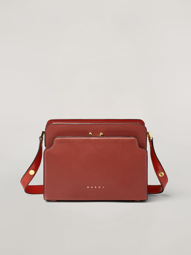 Marni TRUNK REVERSE shoulder bag in nappa calfskin red Woman - 1