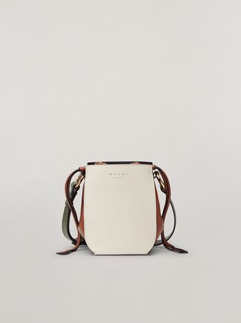 Marni GUSSET shoulder bag in calf and nappa white brown and green Woman f