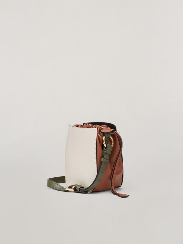 Marni GUSSET shoulder bag in calf and nappa white brown and green Woman