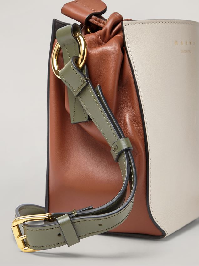 Marni GUSSET shoulder bag in calf and nappa white brown and green Woman - 4