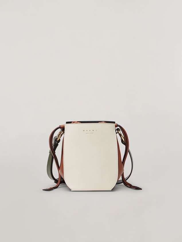 Marni GUSSET shoulder bag in calf and nappa white brown and green Woman - 1