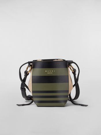 Marni Small WANDERING IN STRIPES GUSSET shoulder bag in calfskin and nappa Woman f