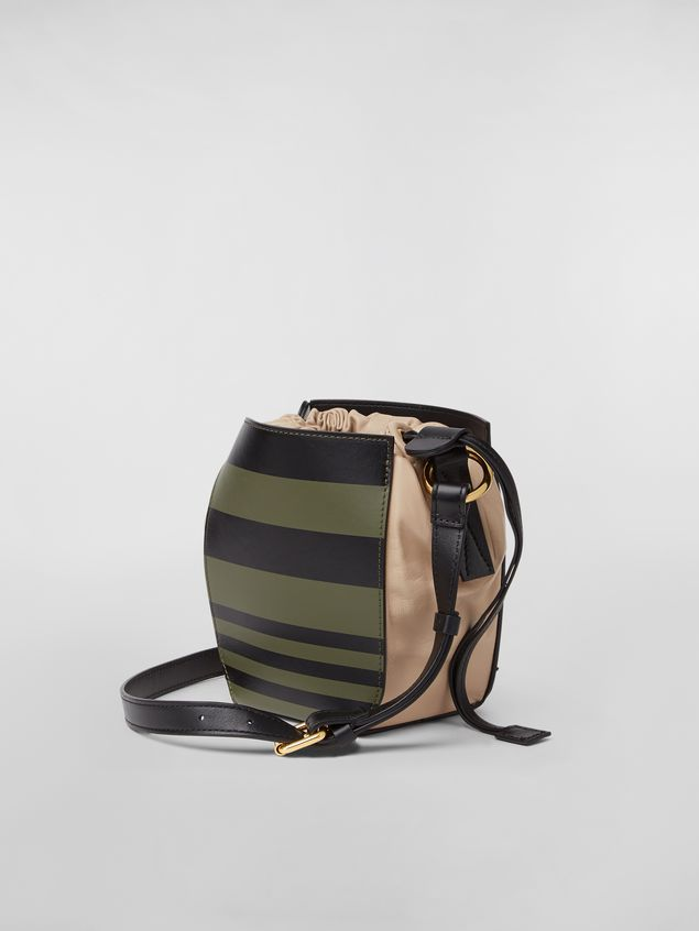 Marni Small WANDERING IN STRIPES GUSSET shoulder bag in calfskin and nappa Woman