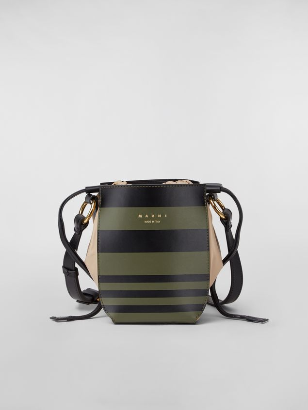 Marni Small WANDERING IN STRIPES GUSSET shoulder bag in calfskin and nappa Woman - 1