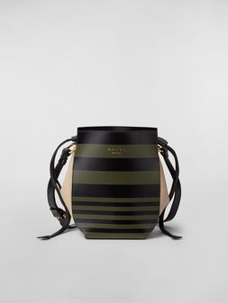 Marni Borsa a spalla GUSSET WANDERING IN STRIPES in vitello e nappa grande Donna