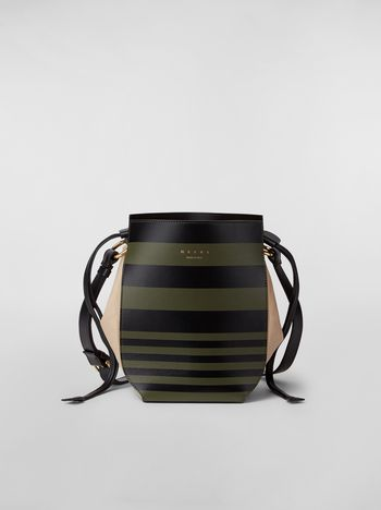 Marni Large WANDERING IN STRIPES GUSSET shoulder bag in calfskin and nappa Woman f