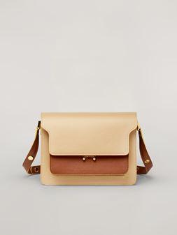 Marni TRUNK Bag aus glattem Kalbsleder in Beige, Braun und Grün Damen