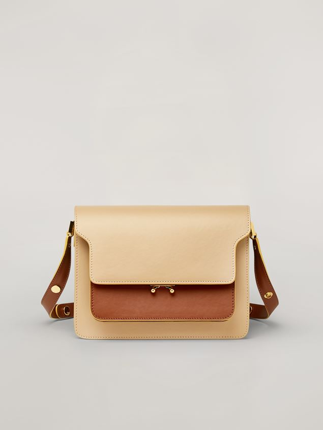 Marni TRUNK bag in smooth calf beige brown and green Woman - 1