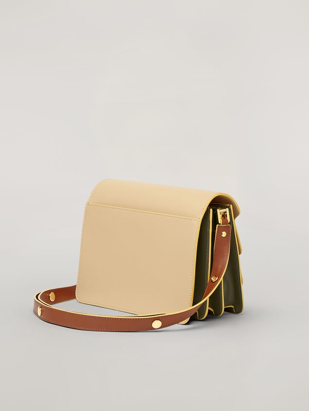 Marni TRUNK bag in smooth calf beige brown and green Woman - 3