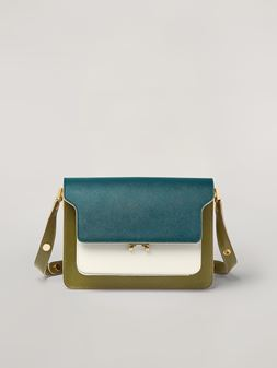 Marni TRUNK bag in smooth calf petroleum white and green Woman