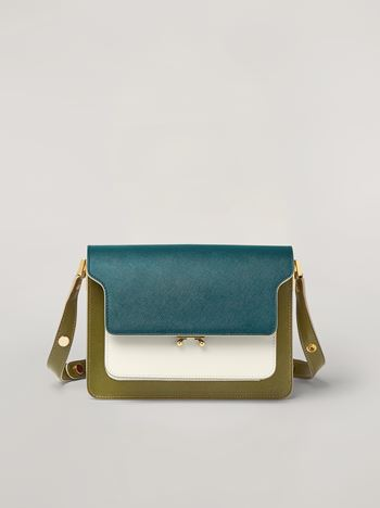 Marni TRUNK bag in smooth calf petroleum white and green Woman f