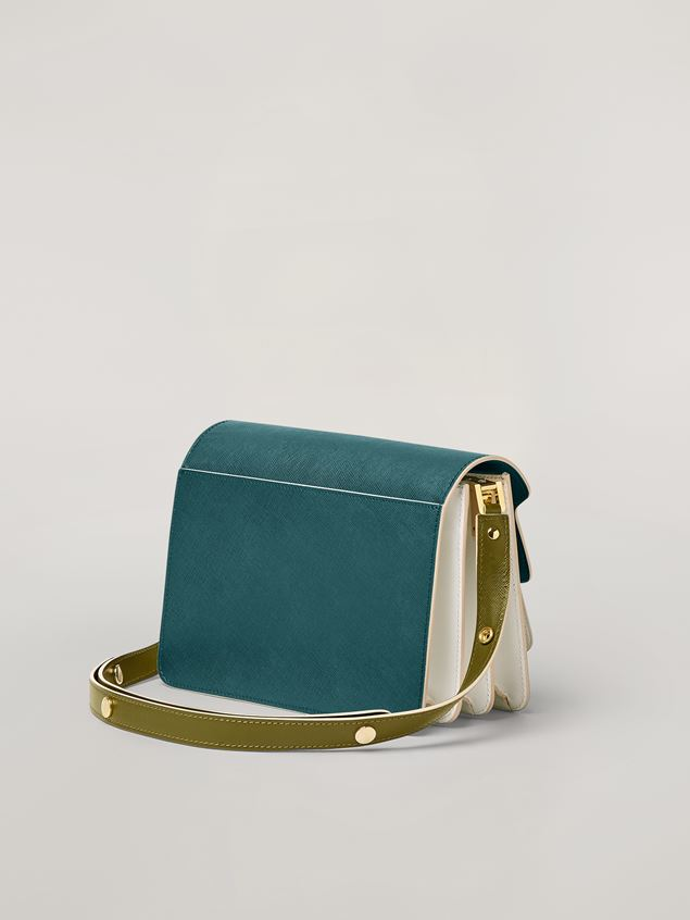 Marni TRUNK bag in smooth calf petroleum white and green Woman - 3