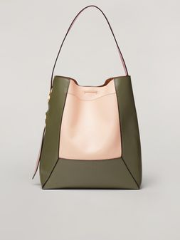 Marni NEMO bag in nappa and smooth calf pink green and red Woman
