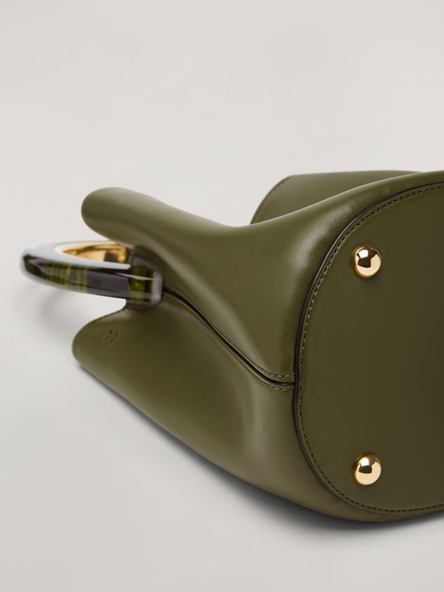Marni PANNIER bag in calf leather with resin and metal handle green Woman - 5