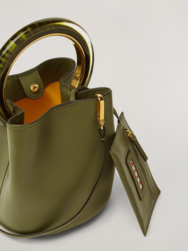 Marni PANNIER bag in calf leather with resin and metal handle green Woman - 4