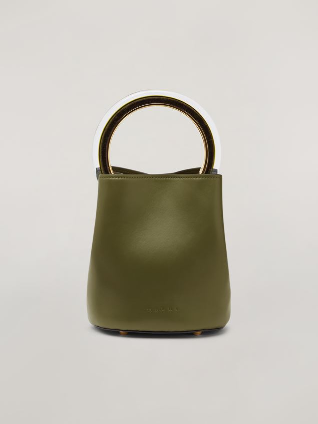Marni PANNIER bag in calf leather with resin and metal handle green Woman - 1