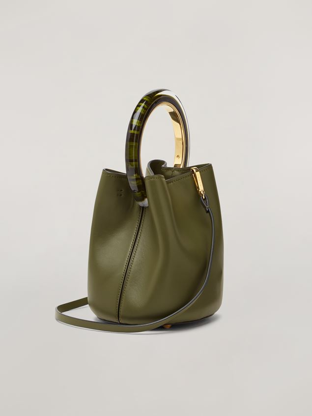 Marni PANNIER bag in calf leather with resin and metal handle green Woman - 3