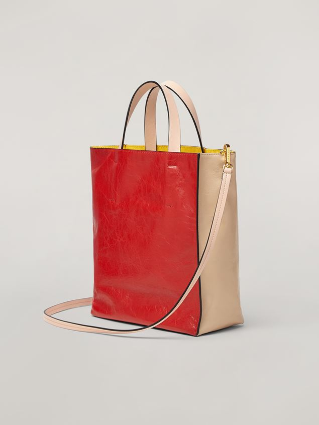 Marni MUSEO SOFT bag in calf leather red and pink Woman